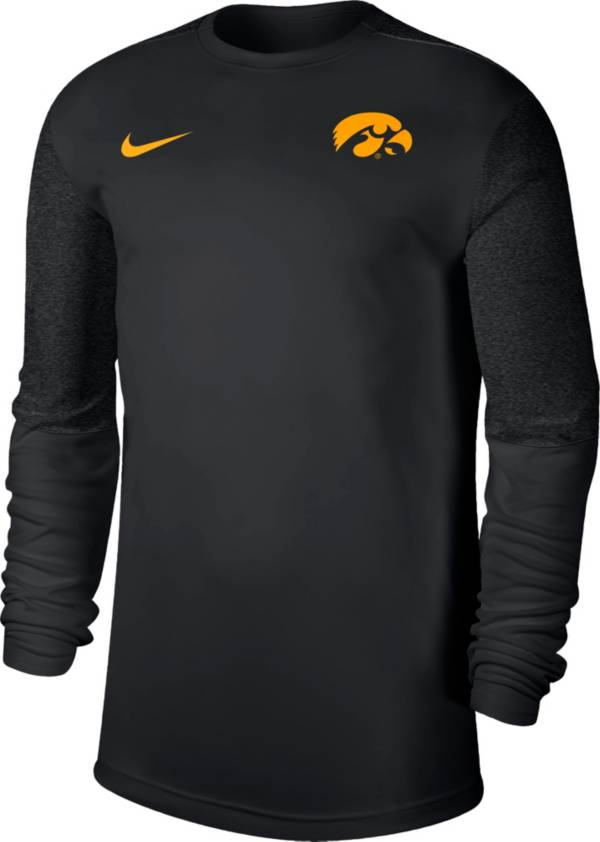 Nike Men's Iowa Hawkeyes Top Coach UV Football Long Sleeve Black T-Shirt product image