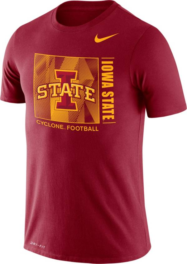 Nike Men's Iowa State Cyclones Cardinal Team Issue Logo Football T-Shirt product image