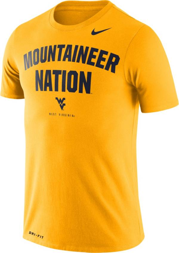 Nike Men's West Virginia Mountaineers Gold Dri-FIT 'Mountaineer Nation' T-Shirt product image