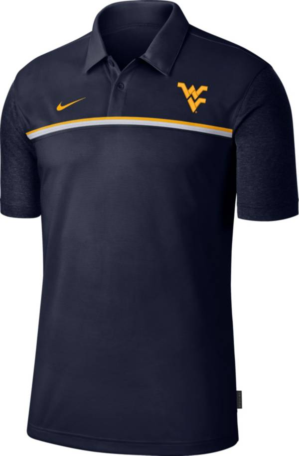 Nike Men's West Virginia Mountaineers Blue Dri-FIT Football Sideline Polo product image