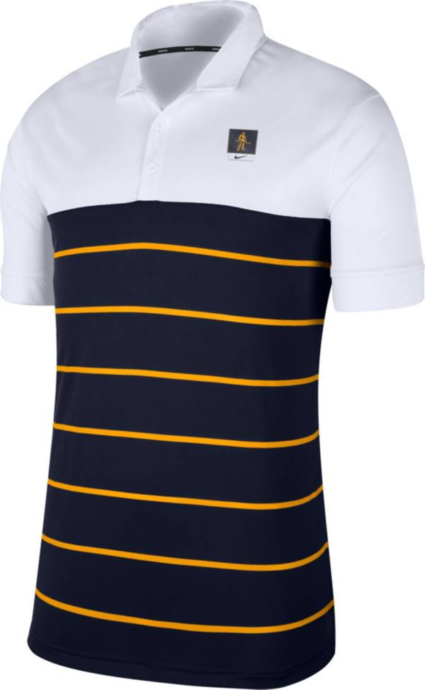 Nike Men's West Virginia Mountaineers White/Blue Striped Polo product image