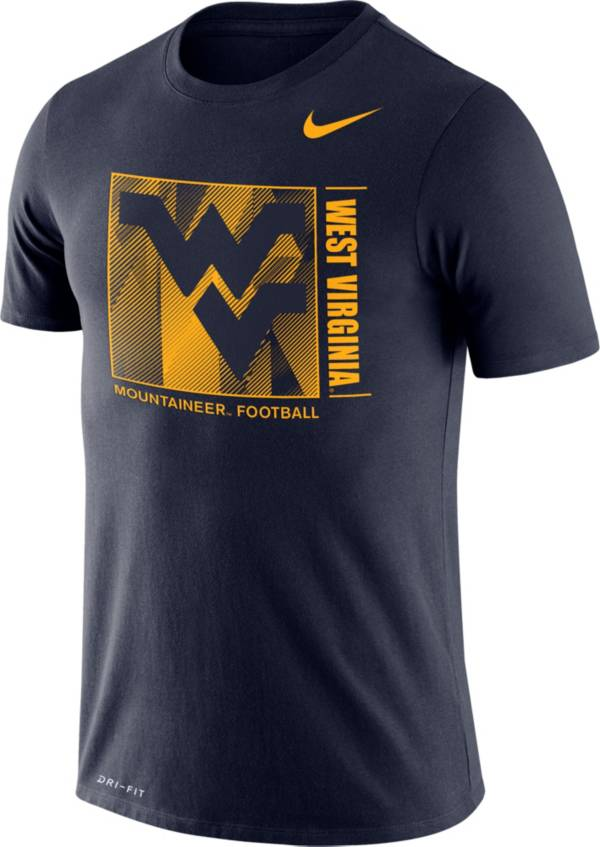 Nike Men's West Virginia Mountaineers Blue Team Issue Logo Football T-Shirt product image