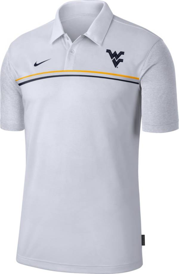 Nike Men's West Virginia Mountaineers Dri-FIT Football Sideline White Polo product image