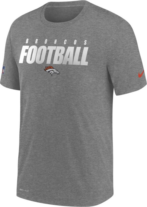 Nike Men's Denver Broncos Sideline Dri-FIT Cotton Football All Grey T-Shirt product image