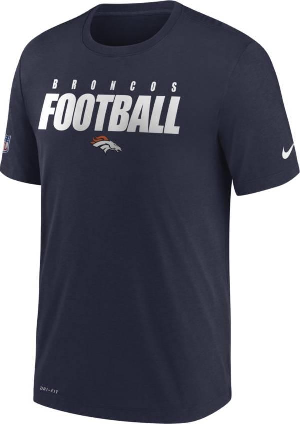 Nike Men's Denver Broncos Sideline Dri-FIT Cotton Football All Navy T-Shirt product image