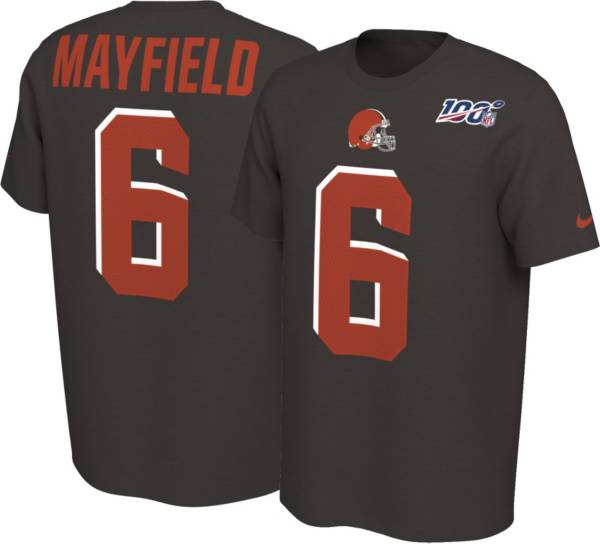 Nike Men's Cleveland Browns Baker Mayfield #6 100th Brown T-Shirt product image