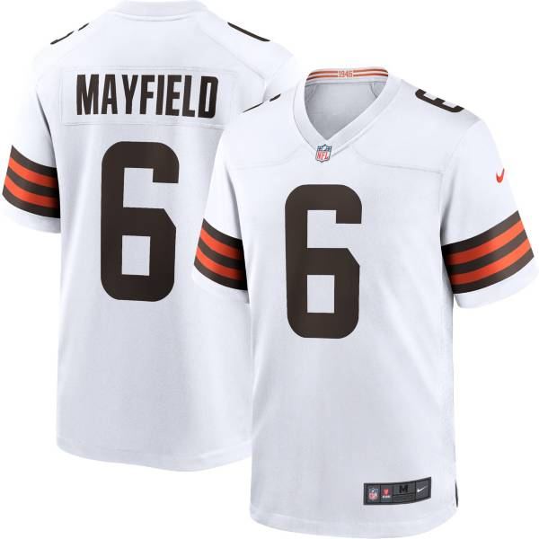 Nike Men's Cleveland Browns Baker Mayfield #6 Away White Game Jersey product image