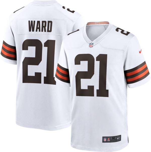 Nike Men's Cleveland Browns Denzel Ward #21 Away White Game Jersey product image