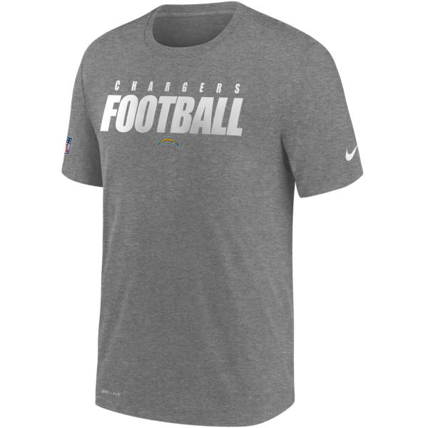 Nike Men's Los Angeles Chargers Sideline Dri-FIT Cotton Football All Grey T-Shirt product image