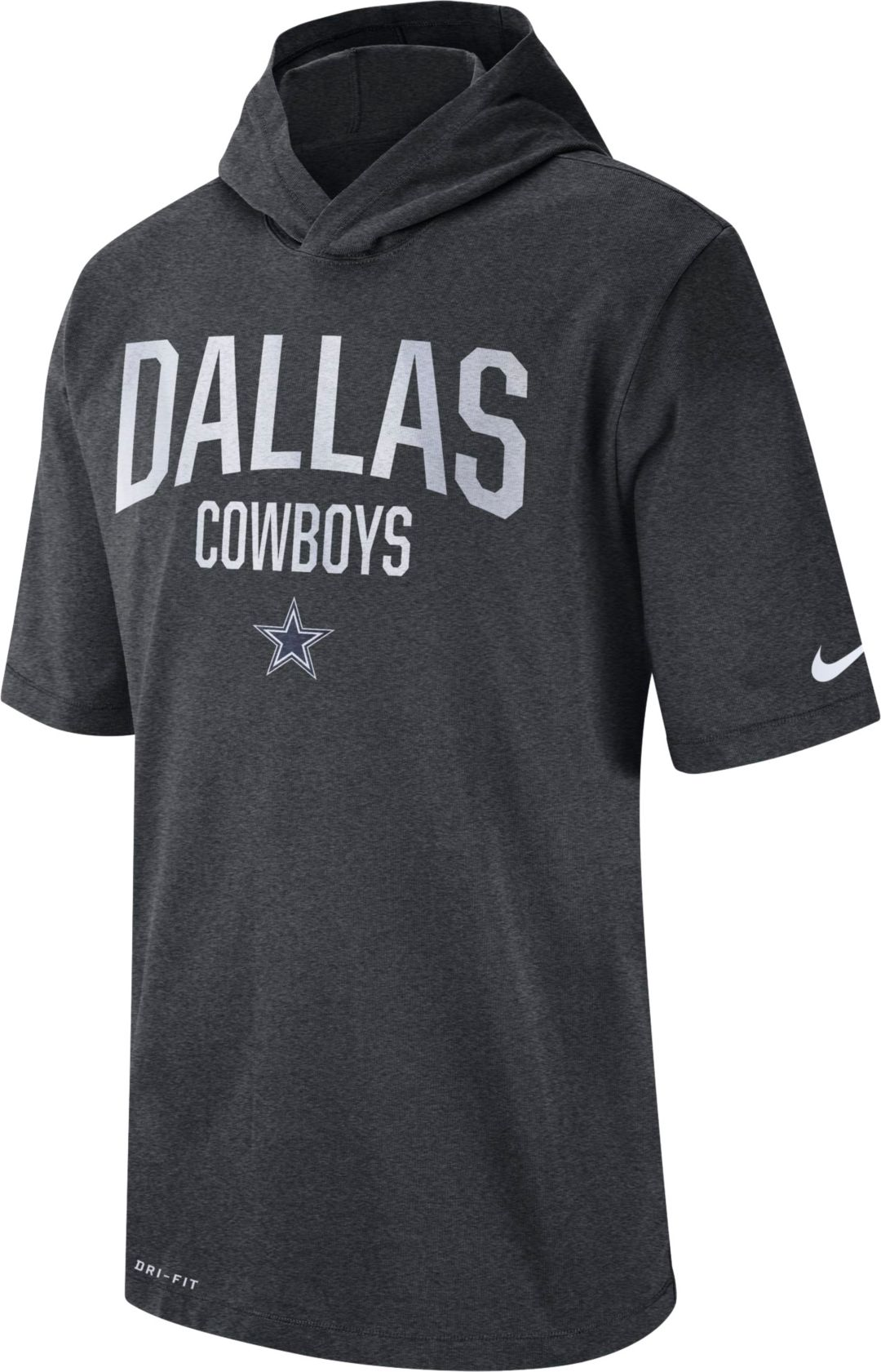 info for 35a59 1c1eb Nike Men's Dallas Cowboys Sideline Charcoal Short-Sleeve Hoodie T-Shirt