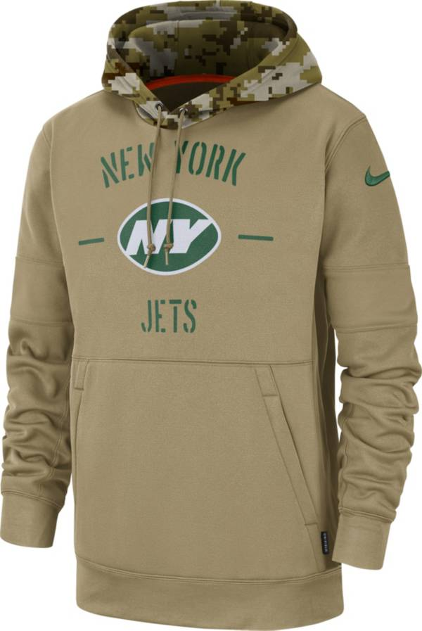 Nike Men's Salute to Service New York Jets Therma-FIT Beige Camo Hoodie product image
