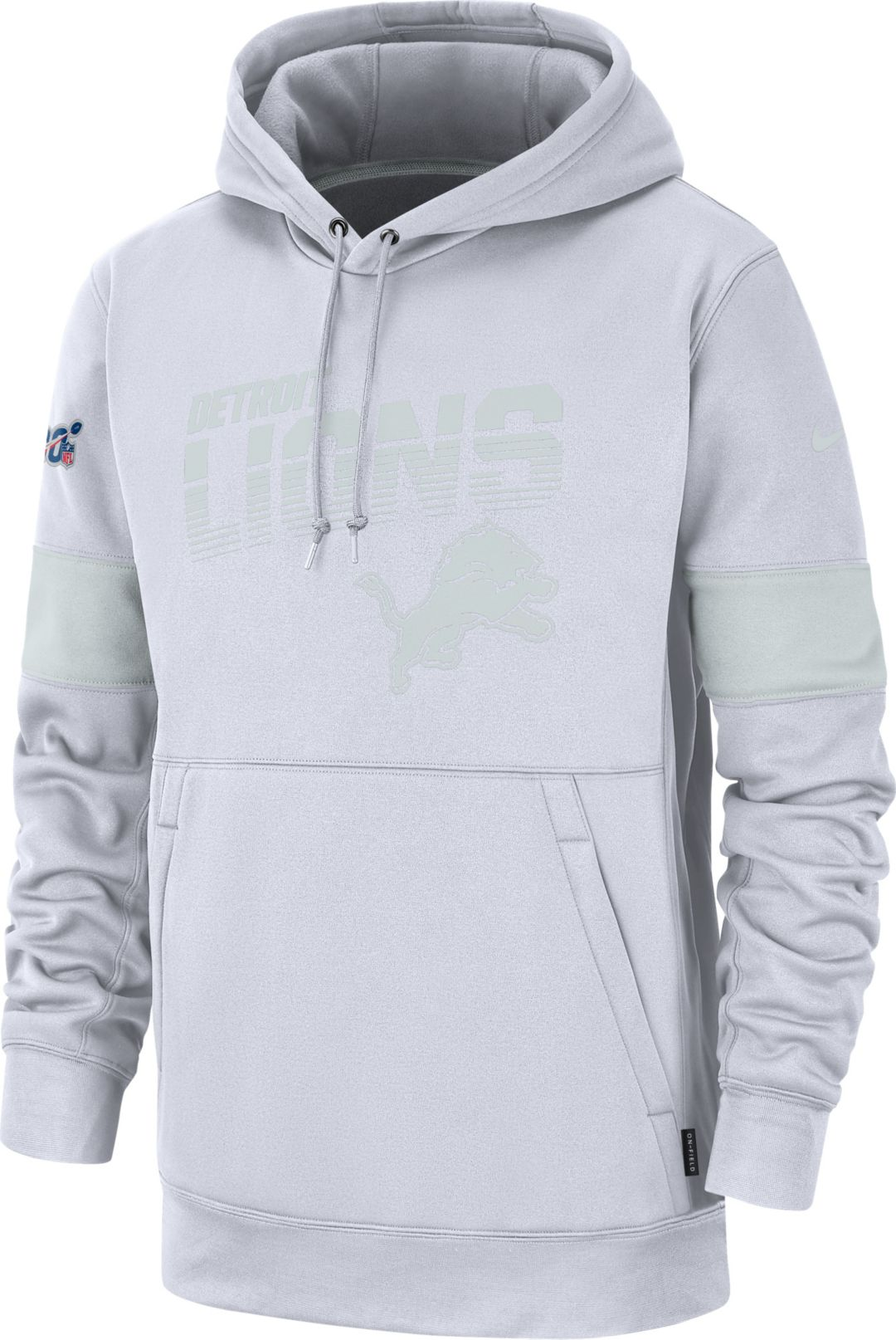ddb329e1 Nike Men's Detroit Lions 100th Sideline Therma-FIT Pullover White Hoodie