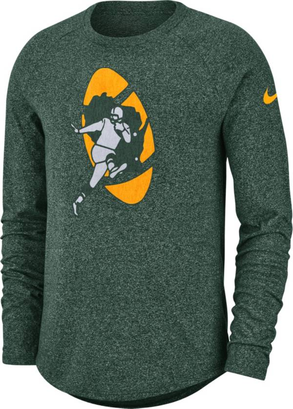 Nike Men's Green Bay Packers Marled Historic Performance Green Long Sleeve Shirt product image