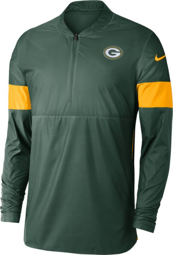 Nike Men's Green Bay Packers Sideline Coach Green Half-Zip Performance Jacket product image