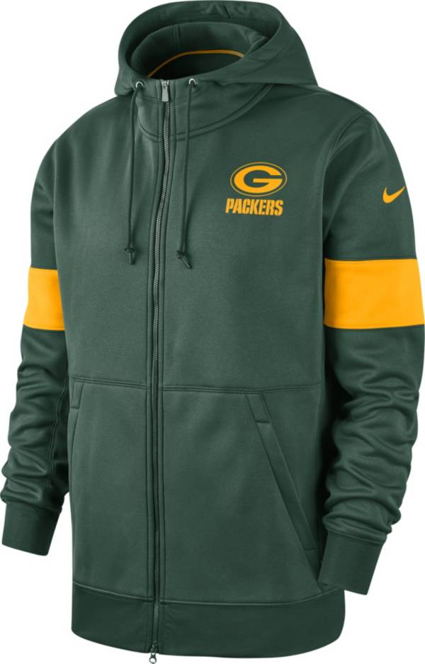 Nike Men's Green Bay Packers Sideline Therma-FIT Green Full-Zip Hoodie product image