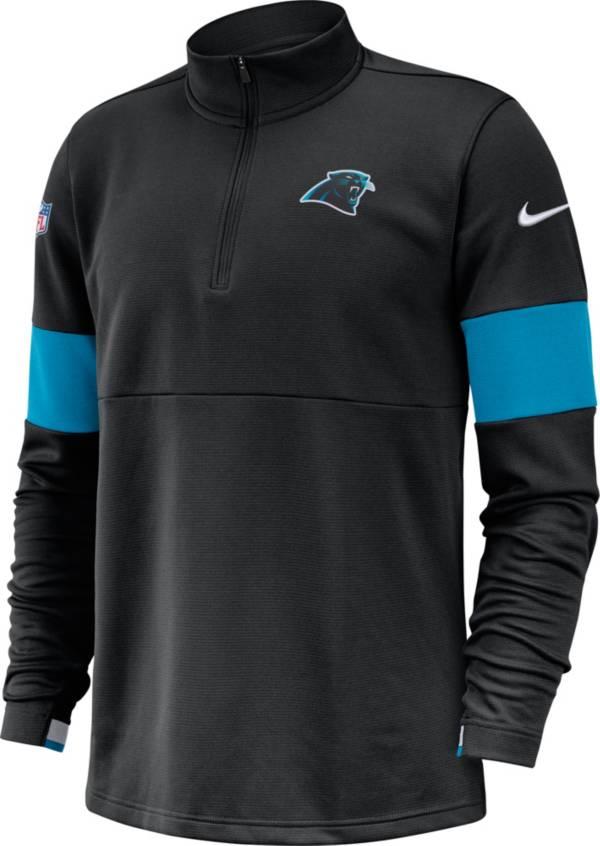 Nike Men's Carolina Panthers Sideline Coach Performance Black Half-Zip Pullover product image