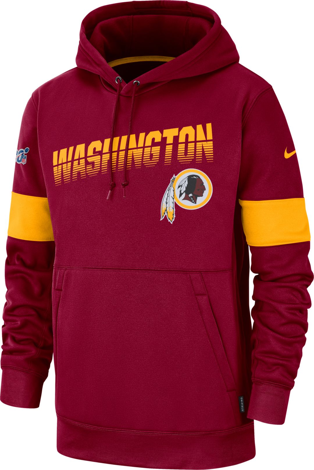 1f4d1b38 Nike Men's Washington Redskins 100th Sideline Therma-FIT Red Pullover Hoodie