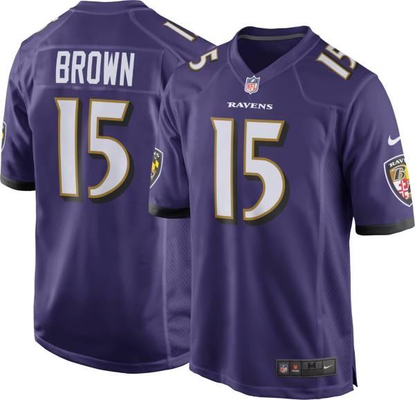Nike Men's Baltimore Ravens Marquise Brown #15 Purple Game Jersey