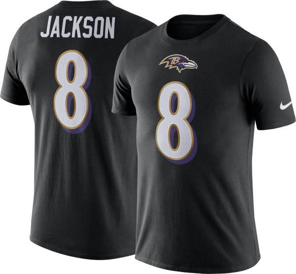 Nike Men's Baltimore Ravens Lamar Jackson #8 Logo Black T-Shirt product image