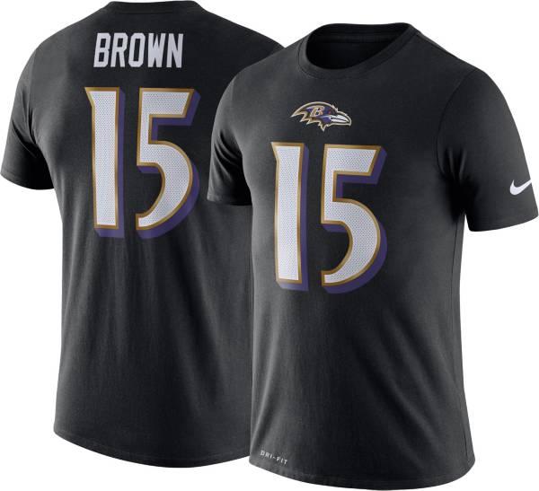 Nike Men's Baltimore Ravens Marquise Brown #15 Logo Black T-Shirt product image