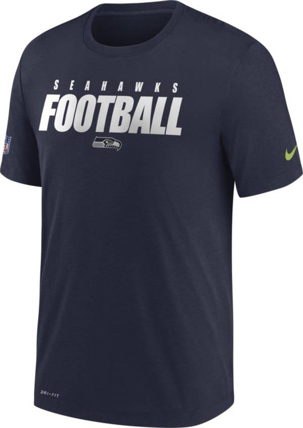 Nike Men's Seattle Seahawks Sideline Dri-FIT Cotton Football All Navy T-Shirt product image