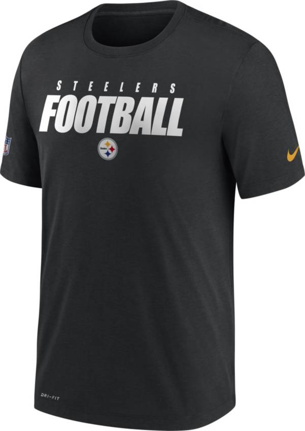 Nike Men's Pittsburgh Steelers Sideline Dri-FIT Cotton Football All Black T-Shirt product image