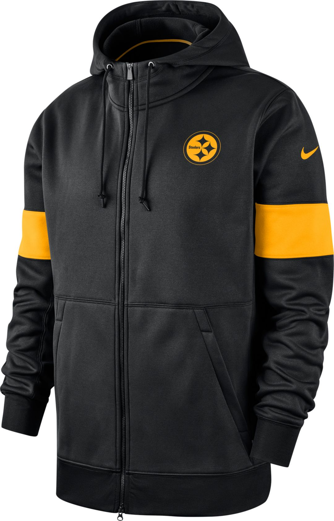 separation shoes 71aa2 e547b Nike Men's Pittsburgh Steelers Sideline Therma-FIT Black Full-Zip Hoodie