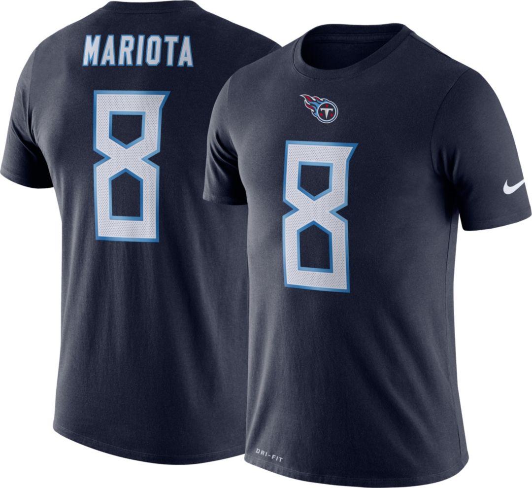 c21dc986 Nike Men's Tennessee Titans Marcus Mariota #8 Logo Navy T-Shirt