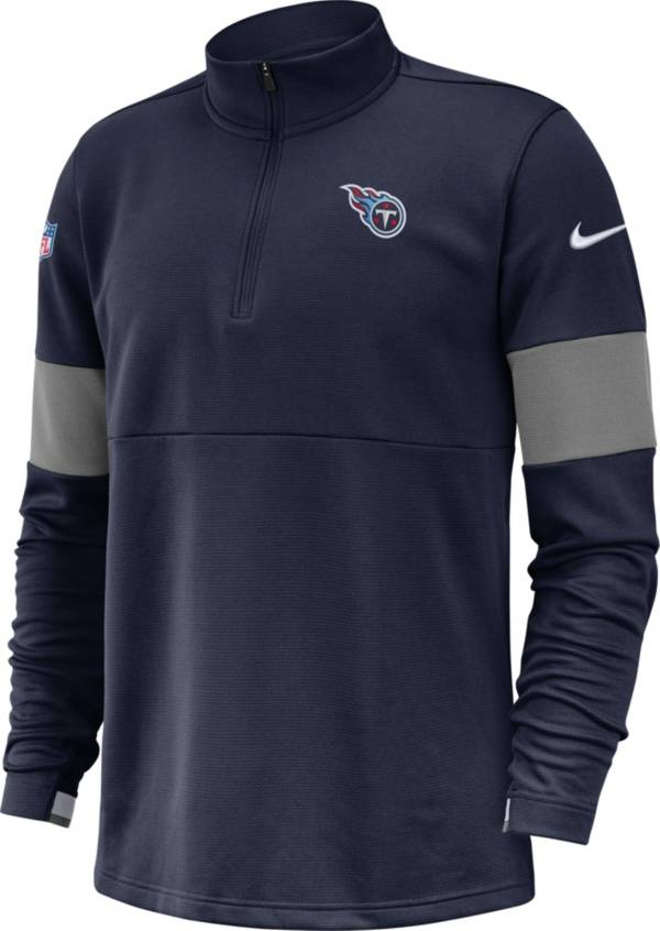 Nike Men's Tennessee Titans Sideline Coach Performance Navy Half-Zip Pullover product image