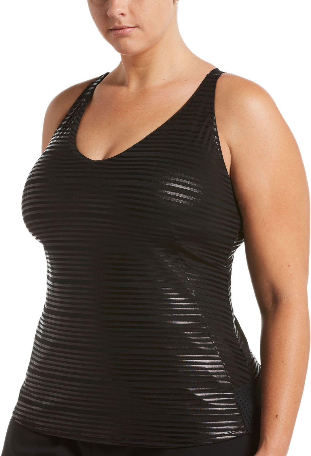 6cd44fd4f458e Nike Women's Plus Size 6:1 Shine Stripe Crossback Tankini Top ...
