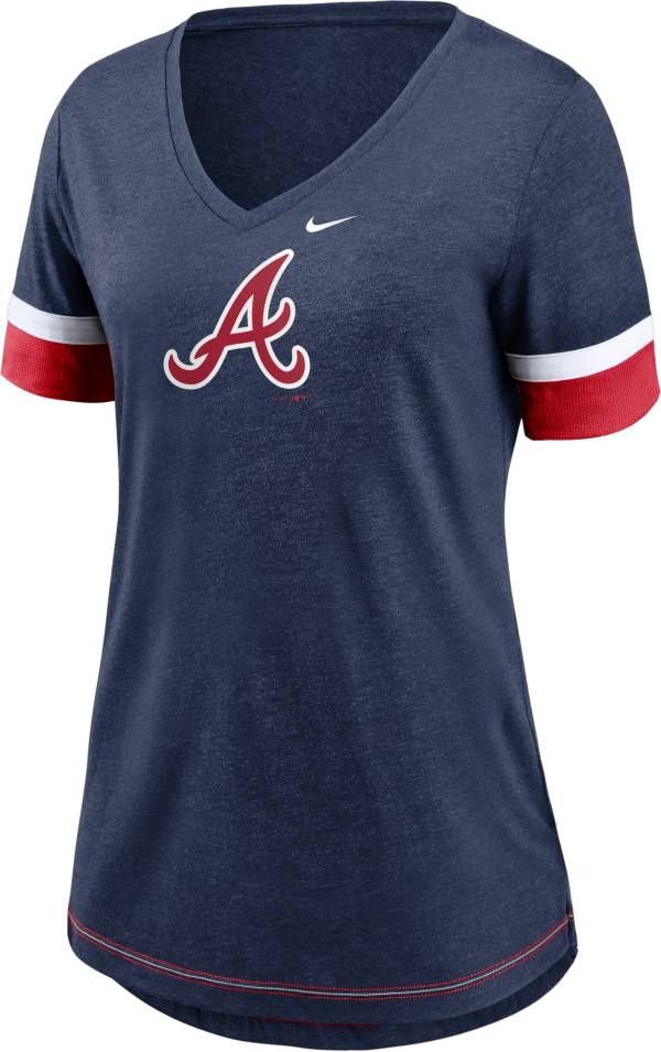 Nike Women's Atlanta Braves Navy Mesh Logo V-Neck T-Shirt product image