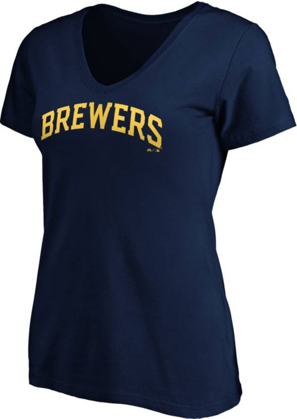 Majestic Women's Milwaukee Brewers Navy Wordmark V-Neck T-Shirt product image