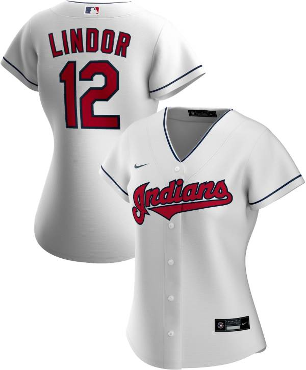 Nike Women's Replica Cleveland Indians Francisco Lindor #12 Cool Base White Jersey product image