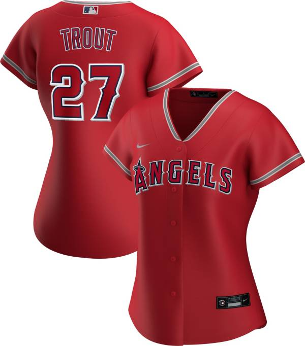 Nike Women's Replica Los Angeles Angels Mike Trout #27 Cool Base Red Jersey product image