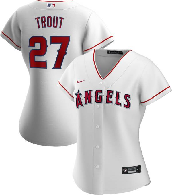 Nike Women's Replica Los Angeles Angels Mike Trout #27 Cool Base White Jersey product image