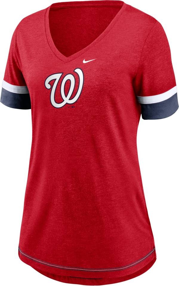 Nike Women's Washington Nationals Red Mesh Logo V-Neck T-Shirt product image