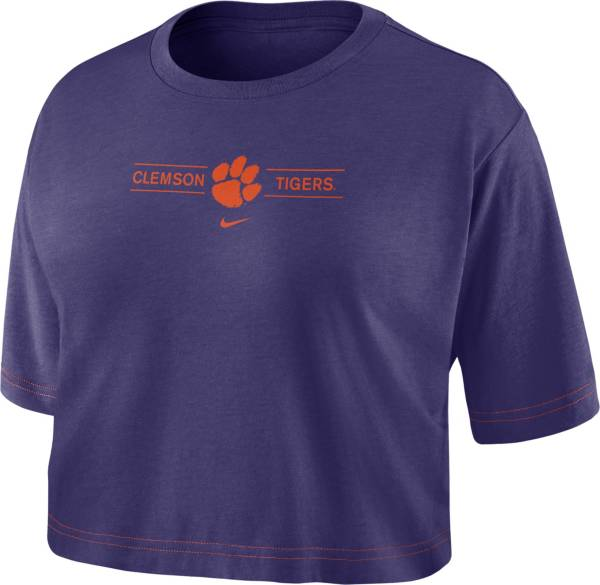 Nike Women's Clemson Tigers Regalia Slub Cropped T-Shirt product image