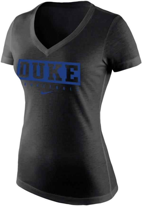 Nike Women's Duke Blue Devils Tri-Blend Basketball V-Neck Black T-Shirt product image