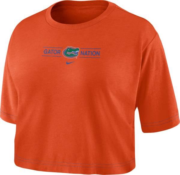 Nike Women's Florida Gators Orange Slub Cropped 'Gator Nation' T-Shirt product image