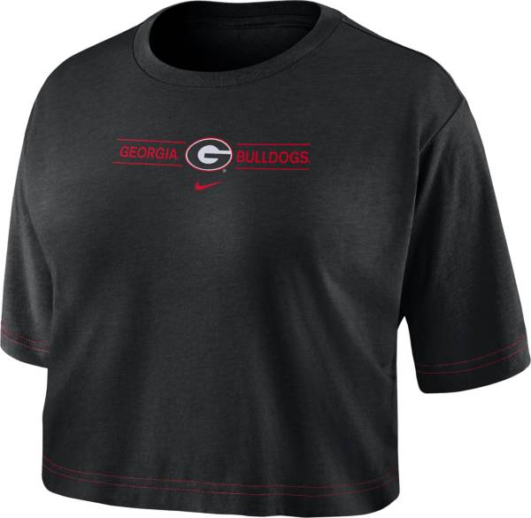 Nike Women's Georgia Bulldogs Slub Cropped Black T-Shirt product image
