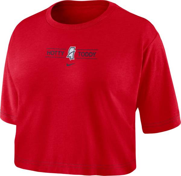 Nike Women's Ole Miss Rebels Red Slub Cropped 'Hotty Toddy' T-Shirt product image