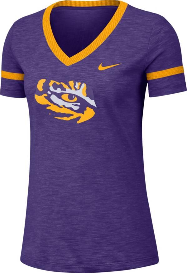 Nike Women's LSU Tigers Purple Slub V-Neck T-Shirt product image
