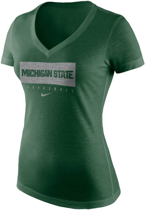 Nike Women's Michigan State Spartans Green Tri-Blend Basketball V-Neck T-Shirt product image