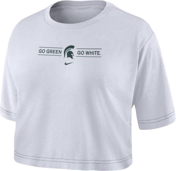 Nike Women's Michigan State Spartans Slub Cropped 'Go Green Go White' White T-Shirt product image