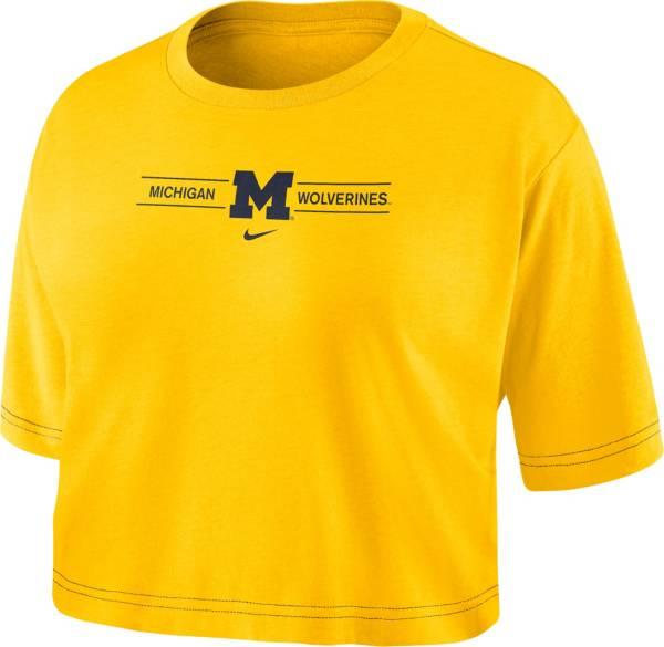 Nike Women's Michigan Wolverines Maize Slub Cropped T-Shirt product image