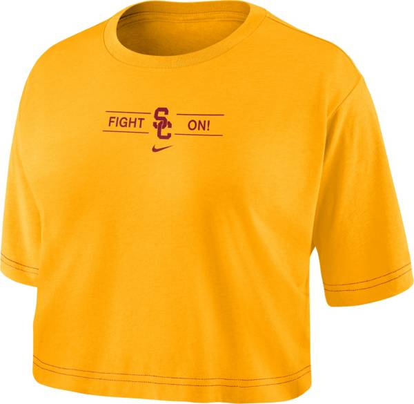 Nike Women's USC Trojans Gold Slub Cropped 'Fight On!' T-Shirt product image