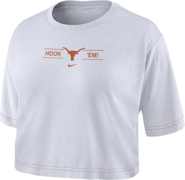 Nike Women's Texas Longhorns Slub Cropped 'Hook 'Em!' White T-Shirt product image