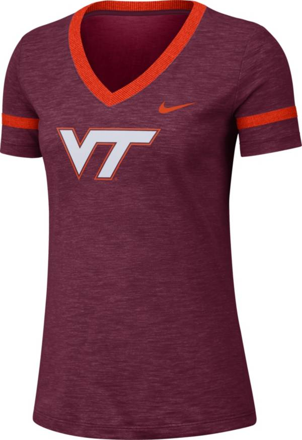 Nike Women's Virginia Tech Hokies Maroon Slub V-Neck T-Shirt product image