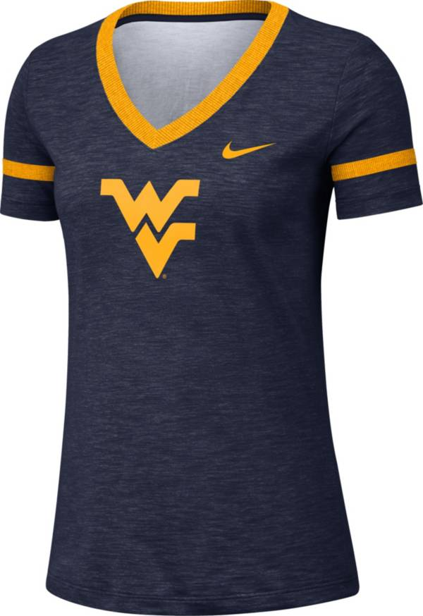 Nike Women's West Virginia Mountaineers Blue Slub V-Neck T-Shirt product image