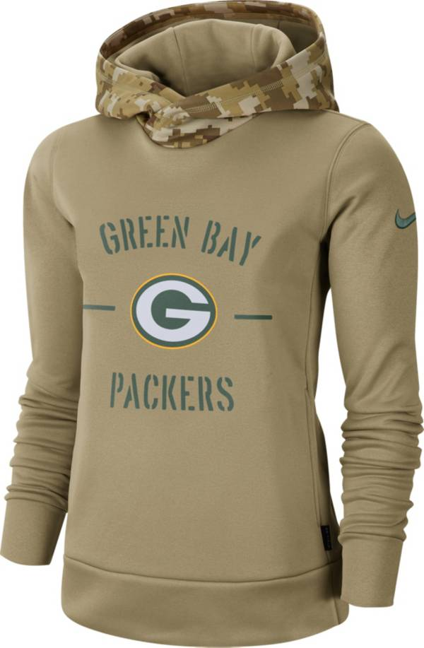 Nike Women's Salute to Service Green Bay Packers Therma-FIT Beige Camo Hoodie product image